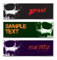 skull artistic splatter banners black green purple vector image vector image
