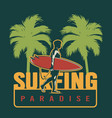 summer surfing colorful label vector image vector image