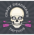 Tattoo parlor logo template Hipster skull with vector image vector image