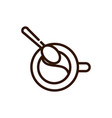 top view coffee cup and spoon line design vector image vector image