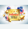 veterans day greeting golden plate vector image vector image