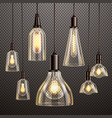 vintage light bulbs set vector image vector image