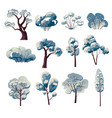 winter bare tree watercolor paintings isolated vector image