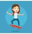 Woman riding skateboard vector image vector image