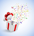 Gift Box with Confetti on a white background vector image