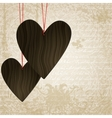 Happy valentines day grunge background with wooden vector image
