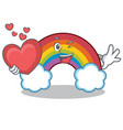 with heart colorful rainbow character cartoon vector image
