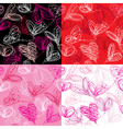 Seamless pattern with hand drawn scribble hearts vector image