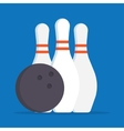 bowling ball and skittles icons vector image