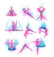 aero yoga watercolor icons vector image