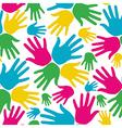 Social diversity hands seamless pattern vector image