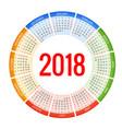 2018 circle calendar print template week starts vector image vector image