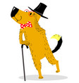 A dog dressed as a gentleman pince-nez and
