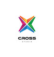 abstract colorful rainbow cross logo business vector image
