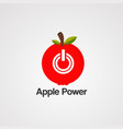 apple power circle red logo icon element and vector image vector image