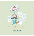 Auditor writes on a piece of paper and think about vector image vector image