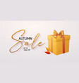 autump sale banner with realistic 3d text gift vector image