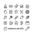 bbq signs black thin line icon set vector image