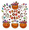 big set cartoon halloween pumpkins candies and vector image