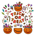 big set of cartoon halloween pumpkins candies and vector image