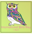 Bird day with owl vector image vector image