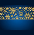 blue christmas card with frame of golden vector image vector image