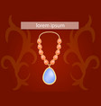 blue topaz necklace concept background realistic vector image vector image