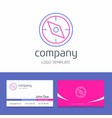 business card design with compass company logo vector image