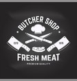 butcher meat shop badge or label with steak chef vector image vector image