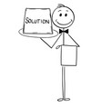 cartoon of waiter offer tray with solution sign vector image