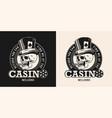 casino vintage monochrome round badge vector image