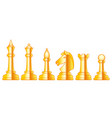 chess gold set vector image vector image