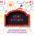 children happy birthday greeting card vector image