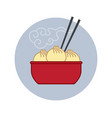 chinese asian food dumplings chopsticks icon vector image
