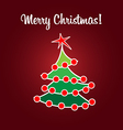 Christmas card simple flat tree vector image
