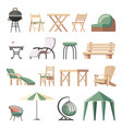 collection outdoor furniture flat vector image