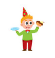 comic portrait of funny boy eating birthday cake vector image vector image