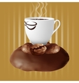 cup of coffee on coffee beans vector image vector image