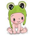 cute cartoon baby boy in a frog hat vector image vector image