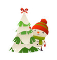 cute cartoon snowman behind christmas tree vector image