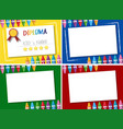 diploma and four different background templates vector image