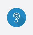ear Flat Blue Simple Icon with long shadow vector image