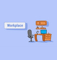 empty workplace with armchair laptop on desk vector image