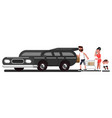family loads purchases into car vector image