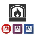 fireplace icon in different variants vector image vector image