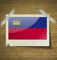 Flags Liechtenstein at frame on a brick background vector image vector image