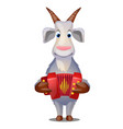 funny goat with accordion isolated on white vector image