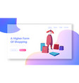 girl shopper in store website landing page woman vector image vector image