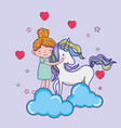 girl with unicorn cute cartoon vector image vector image