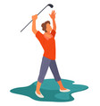 golf field exited golfer with club playing vector image vector image